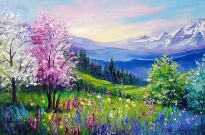 Картина маслом весенний пейзаж «Весна в Альпах» купить живопись для современных интерьеров Украина