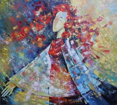 Картина маслом абстракция «Ветер» живопись для современных интерьеров Украина