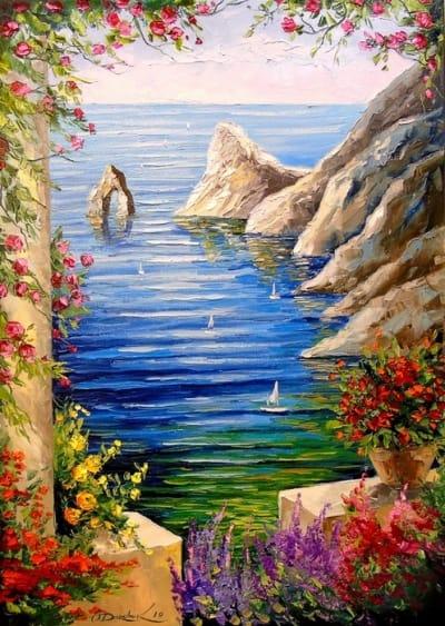 Картина маслом «Вид на скалы» - живопись для современных интерьеров Украина