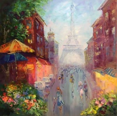 Картина маслом городской пейзаж Франция «Викенд в Париже» купить живопись для современных интерьеров Украина