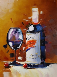 Картина натюрморт «Вино» купить живопись для современных интерьеров Киев
