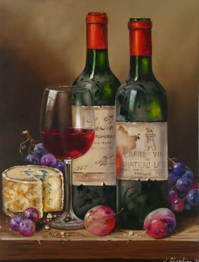 Картина натюрморт «Французское вино и сыр» купить живопись для современных интерьеров Украина