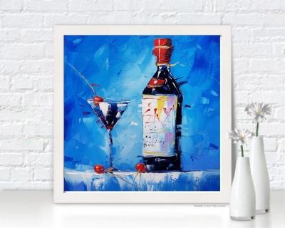 Картина натюрморт «Вино и вишня» купить живопись для современных интерьеров Киев