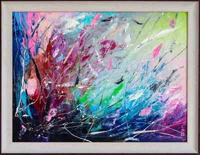 Картина маслом абстракция «Высокая трава» купить живопись для современных интерьеров Киев