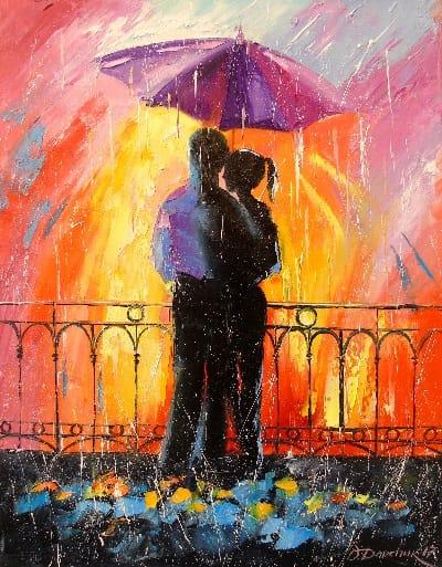 Картина «Влюбленные под зонтом»