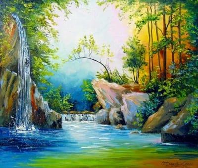 Картина маслом летний пейзаж «Водопад в лесу» купить живопись для современных интерьеров Украина