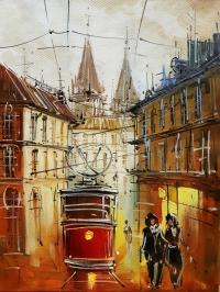 Картина маслом городской пейзаж «Волшебный Львов» купить живопись для современных интерьеров Украина