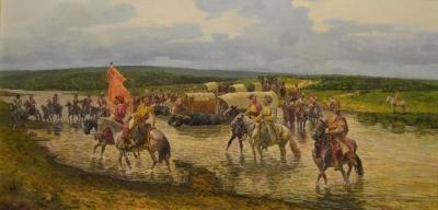 Картина маслом исторический пейзаж «Возвращение из похода» купить живопись для современных интерьеров Киев