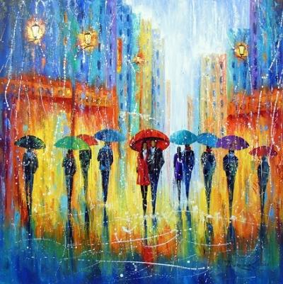 Картина маслом «Все пахнет иначе когда идет дождь» купить живопись для современных интерьеров Украина