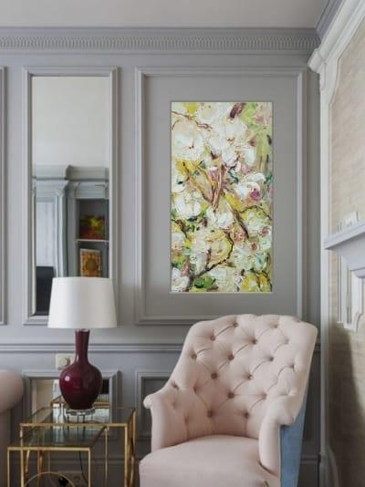 Абстрактная картина цветы «Весна. Цветение» - купить живопись для современных интерьеров Украина