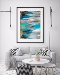 Картина абстракция для современных интерьеров «Waterfall» купить живопись Киев