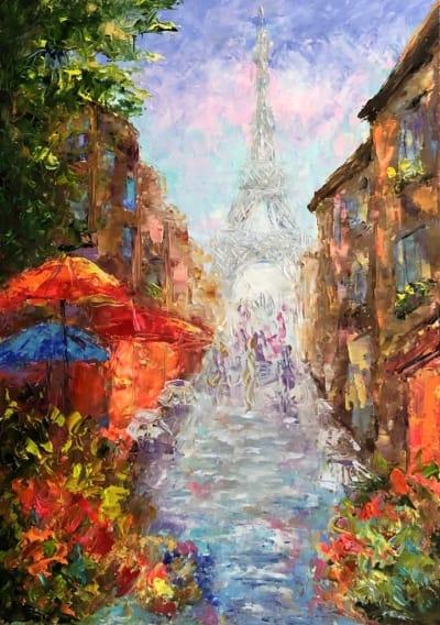 Картина маслом городской пейзаж Франция «Уик-енд в Париже» купить живопись для современных интерьеров Украина