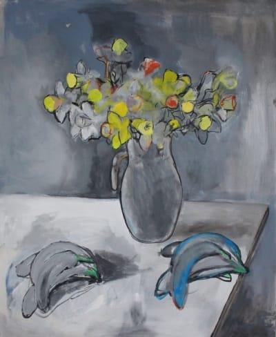 Картина акрил цветы серия La section d'or 1 «Букет и бананы» купить живопись для современных интерьеров Киев