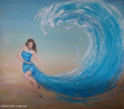 Картина пейзаж Абстракция Морская волна