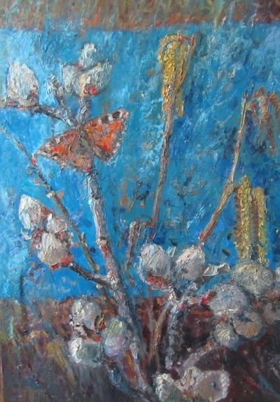 Красивая картина «Котики и Бабочка»