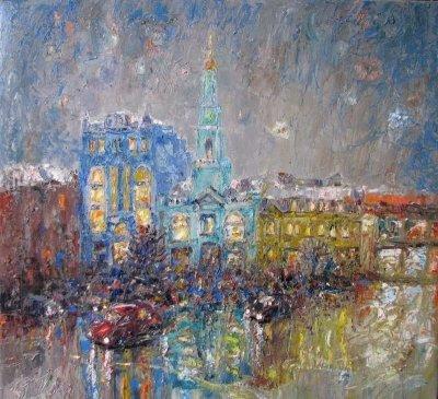 Картина городской пейзаж Киева «Контрактовая вечером»