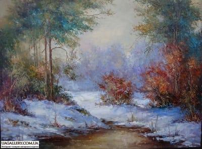 Картина «Зимний пейзаж. Первый снег»