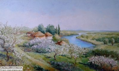 Картина «Сельский пейзаж. Весна»