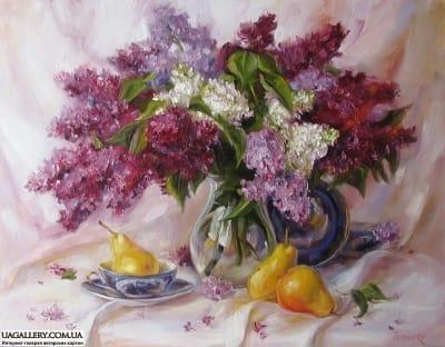Картина «Натюрморт с сиренью и грушами»
