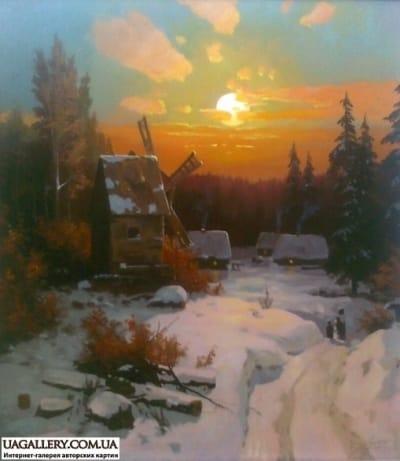 Картина «Заснеженная деревня»