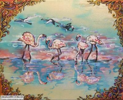 Картина «Сказочный мир фламинго»