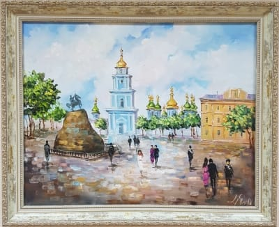 Картина маслом городской пейзаж «Виды Киева. Софиевская площадь» - живопись для современных интерьеров