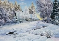 Картина пейзаж «Зимний сон» - купить современную живопись Киев