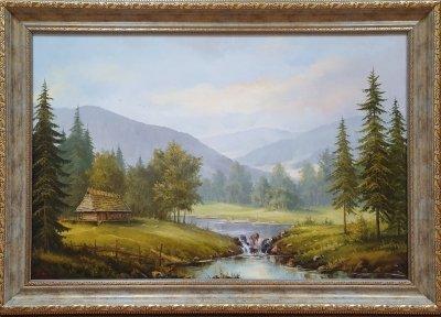 Картина маслом горный пейзаж  «Величие горной тишины» купить живопись Украина