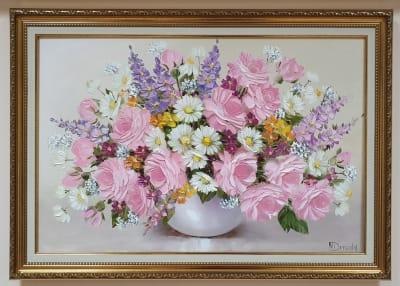 Картина маслом цветы «Нежность летних цветов» купить картину для современного интерьера