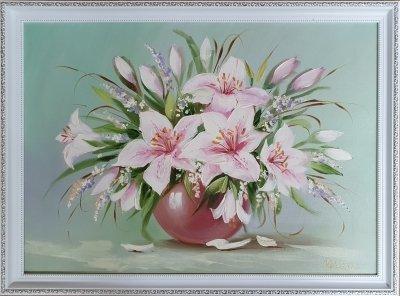 Картина цветы «Нежные лилии» купить картину маслом Киев
