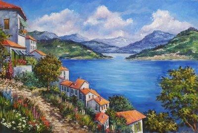 Картина маслом средиземноморский пейзаж «Теплые  краски Средиземноморья»  купить живопись Киев