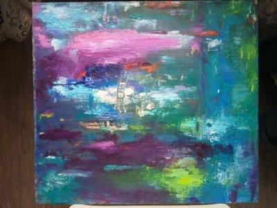 Картина маслом абстракция «Вечный сад» купить живопись для современных интерьеров Украина