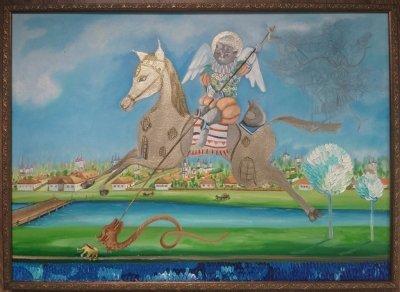 Картина масло акрил «Кот - победитель» купить живопись для современных интерьеров Украина