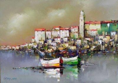 Картина маслом морской пейзаж «Средиземноморский пейзаж» купить живопись Украина