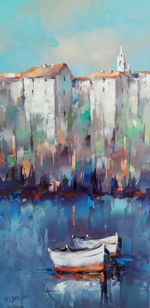 Картина маслом абстрактный пейзаж «Средиземноморский пейзаж» купить живопись Киев