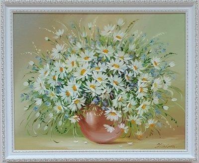 Картина маслом цветы «Нежный букет ромашек» купить живопись Украина