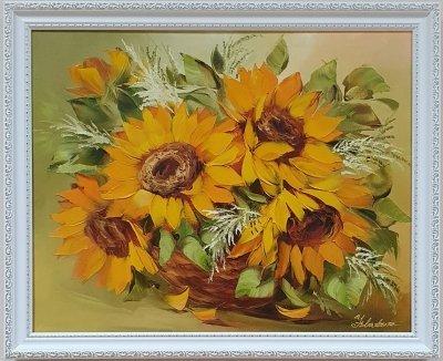 Картина маслом цветы «Подсолнухи - солнце в каждом лепестке» купить живопись Украина