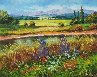 Картина маслом пейзаж Прованс «Теплый Прованс» купить живопись для современных интерьеров