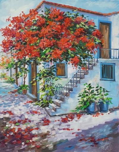 Картина пейзаж «Цветущий дворик» купить живопись для современных интерьеров Украина