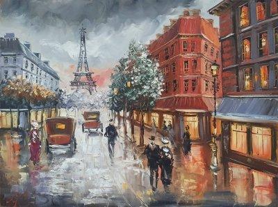 Картина пейзаж «Париж» купить современную живопись Украина