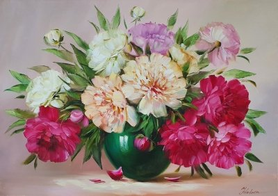 Картина цветы «Весенние пионы» купить картину маслом в Киеве