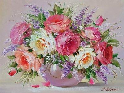 Картина маслом цветы розы «Аромат нежных роз» купить картину Киев