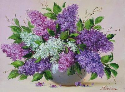 Картина маслом цветы сирень «Аромат сирени» купить картину Киев