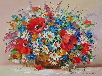 Картина маслом цветы «Аромат лета» купить картину Киев