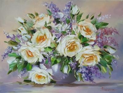 Картина маслом цветы розы «Белые розы» купить картину Киев