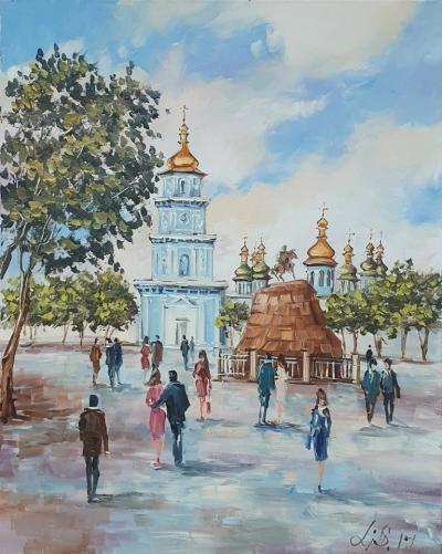 Картина маслом виды Киева «Виды Киева. Софиевская площадь» купить живопись Киев