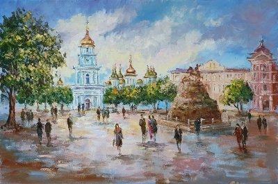 Картина маслом городской пейзаж Киева «Виды Киева. Вечерний» - живопись для современных интерьеров