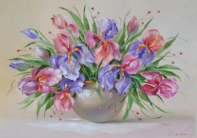 Картина цветы «Ирисы - нежность в каждом лепестке» купить современную живопись Украина