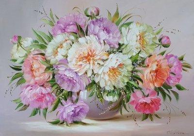 Картина маслом цветы пионы «Нежность пионов» купить картины для современных интерьеров Киев