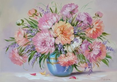 Картина цветы «Пышен и красив весенний пион» купить живопись Украина